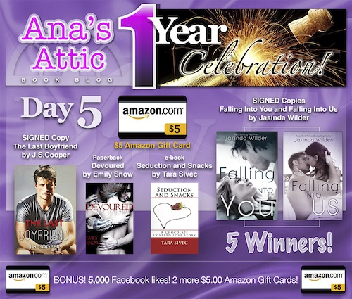 1 Year Blogoversary Giveaway Day 5 plus 5,000 Likes Bonus!
