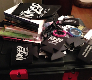 Just a small portion of the swag and signed books available for giveaways.