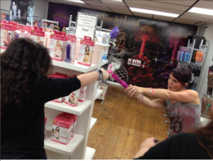 Tara and I having a 'sword fight' at last year's Wicked Book Weekend.